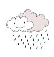 happy rainy clouds doodle sticker vector image vector image