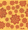 henna color ornament of mandala on a yellow vector image vector image