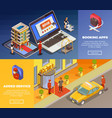 isometric infographic booking banners vector image vector image