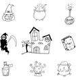 Magic set halloween in doodle vector image vector image
