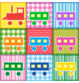 Patchwork with colorful train vector image vector image