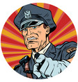 points serious police officer pop art avatar vector image