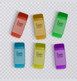 realistic and colorful erasers on transparent vector image vector image