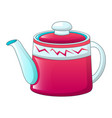 red tea pot icon cartoon style vector image