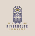 river house lineart logo template vector image vector image