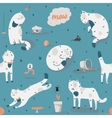 Seamless pattern with kind funky white cats fun vector image vector image