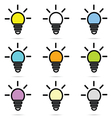 Set of lightbulb icons vector image vector image