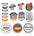 set vintage hot dog labels and design elements vector image vector image