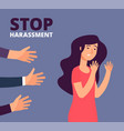 sexual harassment concept woman and mans hands vector image vector image