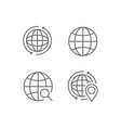simple set globe outline icons vector image