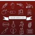 suicide outline icons vector image vector image