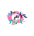 summer floral poster sale - a tiny character man vector image vector image