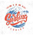 surfing miami florida lettering phrase vector image