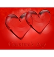 Two transparent hearts in rock crystal Symbol of vector image vector image
