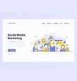 web design flat concept social media marketing vector image vector image