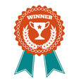 winner award badge with wheat wreath vector image vector image