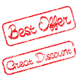 Rubber stamps with text Best offer and Great vector image