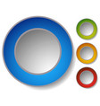 4 color clean circle buttons badges with vector image vector image