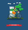 a girl riding city bike vector image