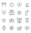 aed cpr first aid in cardiac arrest outline icon vector image vector image