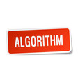 algorithm square sticker on white vector image vector image