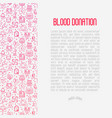 blood donation concept with thin line icons vector image vector image