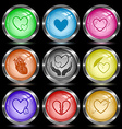 careful heart atomic heart love in hands vector image vector image