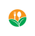 circle leaf restaurant eco logo vector image