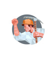 Coal Miner Pick Axe Pumping Fist Low Polygon vector image vector image