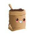 coffee bean bag kawaii cartoon vector image