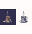 coffee shop logo and emblem cup drink vintage vector image vector image