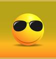 cute smiling emoticon in sunglasses vector image vector image