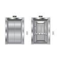 elevator doors metal closed and open doors vector image