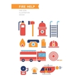 Fire Help Conceptual Icons Set vector image vector image