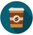 Flat design modern of coffee icon with long shadow vector image vector image
