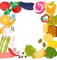 Frame of flat designed organic food vector image