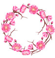 frame with sakura or cherry blossom floral vector image vector image