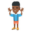 funny african-american boy teasing with hands vector image