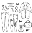 Hand drawn fashion Collection of womens outline vector image