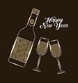happy new year bottle champagne and glass vector image vector image