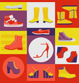 icons different shoes jackboot sneaker boots vector image vector image
