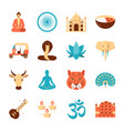 india national symbols icons set in flat style vector image vector image