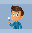 little boy using mouth wash vector image