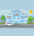 medical hospital building exterior with city vector image vector image