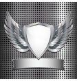 metallic shield background vector image vector image