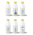 Milk smailing bottle set 003 vector image vector image