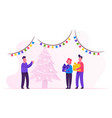new year night father giving gifts to children vector image vector image
