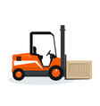 orange forklift truck isolated on white vector image vector image