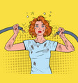 pop art woman holding broken electrical cable vector image vector image