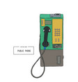 public phone hand draw sketch vector image